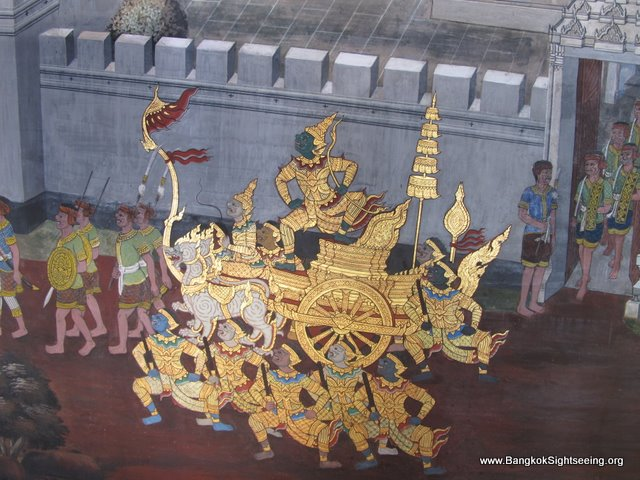 murals of the Ramakien in the Grand Palace in Bangkok