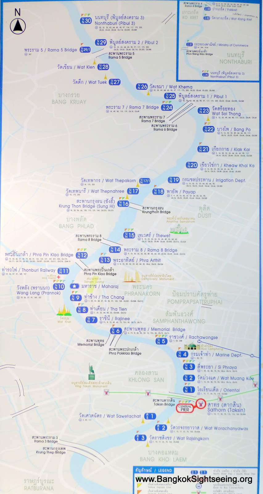 Chao Phraya River Boat Map