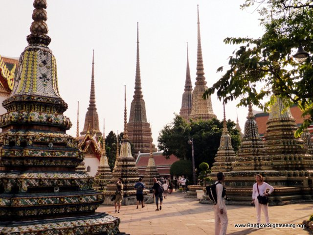 Stupas on the compounds of the Wat Po temple
